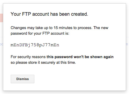 FTP account created