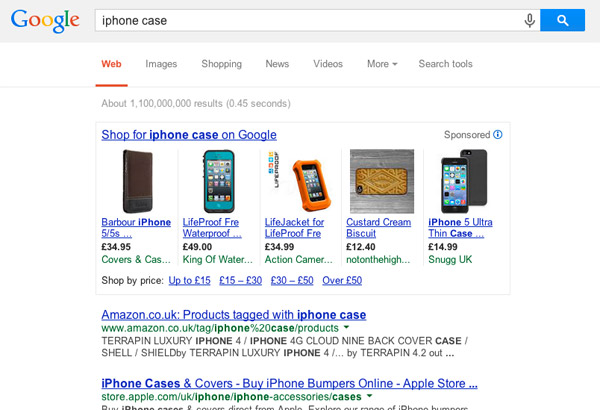 Google Shopping search