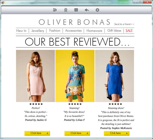 Oliver Bonas reviews email newsletter