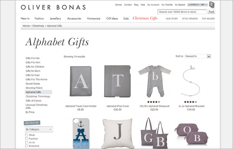 Oliver Bonas Website