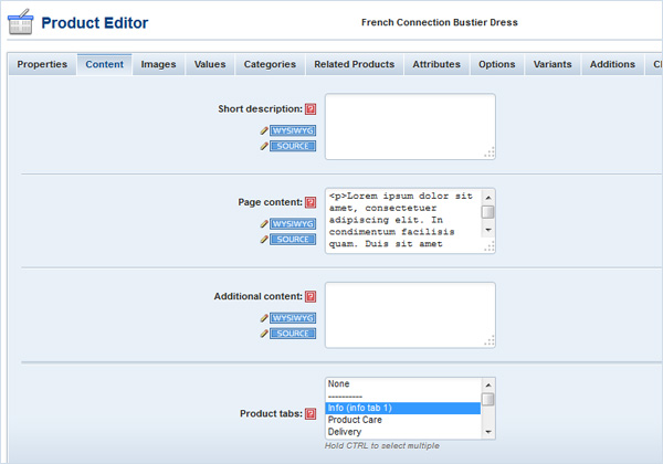 Product tab content in Product Editor