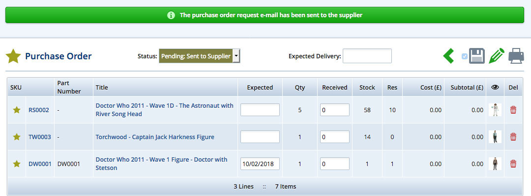Purchase order expected delivery dates