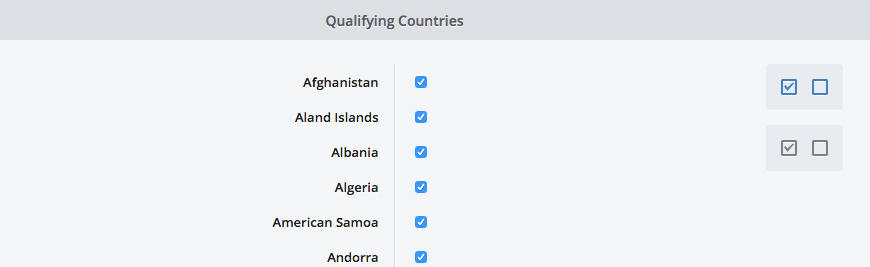 Shipping Editor - countries tab