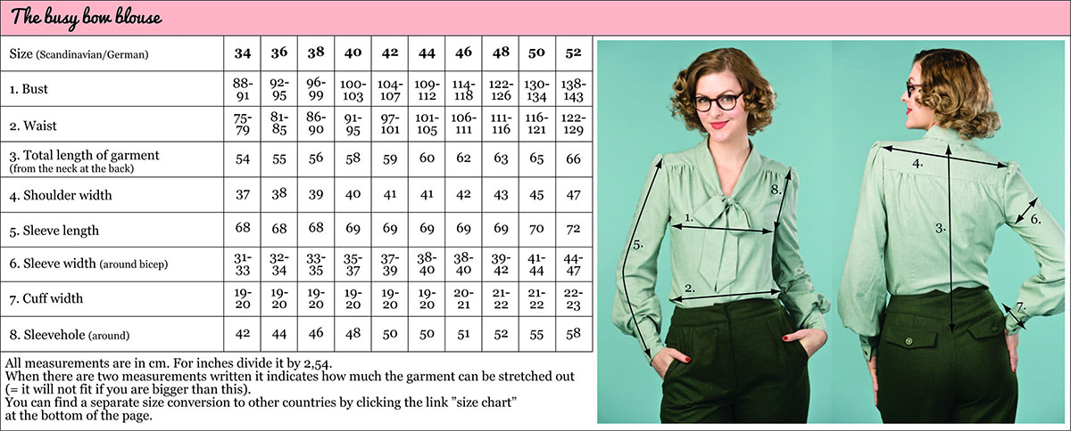 Specific Garment Size Guide