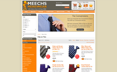 Clip on Ties at Meechs Menswear
