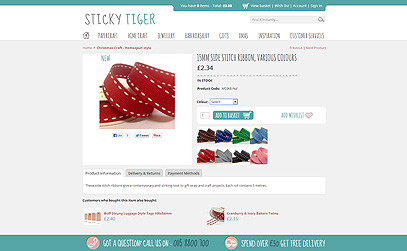 15mm Side Stitch Ribbon, Various Colours at StickyTiger