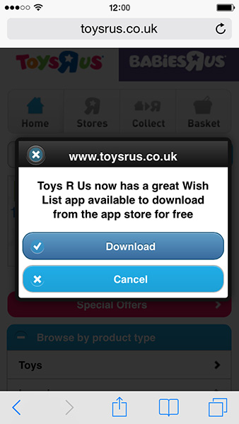Toys R Us pop-up on mobile