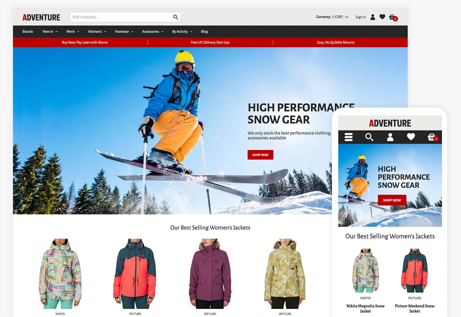 Getting Away From It All By Exploring >> Adventure Theme Ecommerce Website Template Bluepark Co Uk