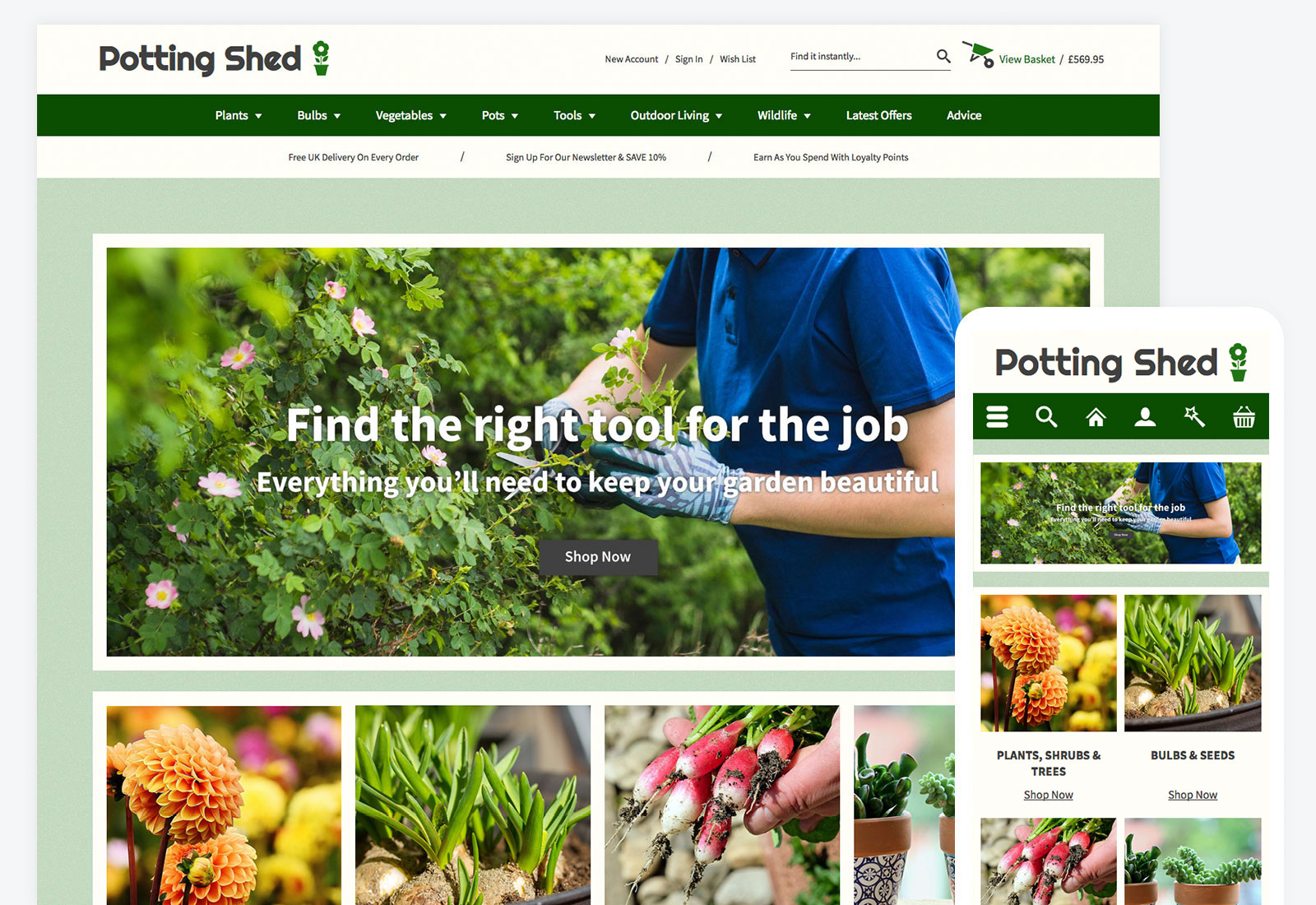 Potting Shed Theme - Ecommerce Website Template - Bluepark co uk